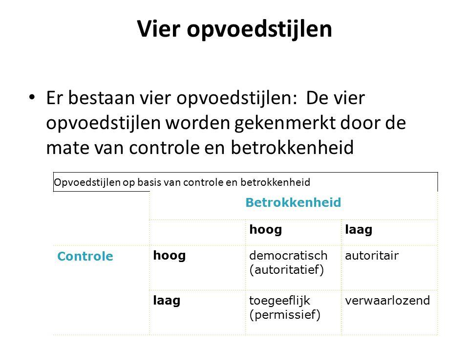 Vier opvoedstijlen Er bestaan vier opvoedstijlen: De vier opvoedstijlen worden gekenmerkt door de mate van controle en betrokkenheid Opvoedstijlen op
