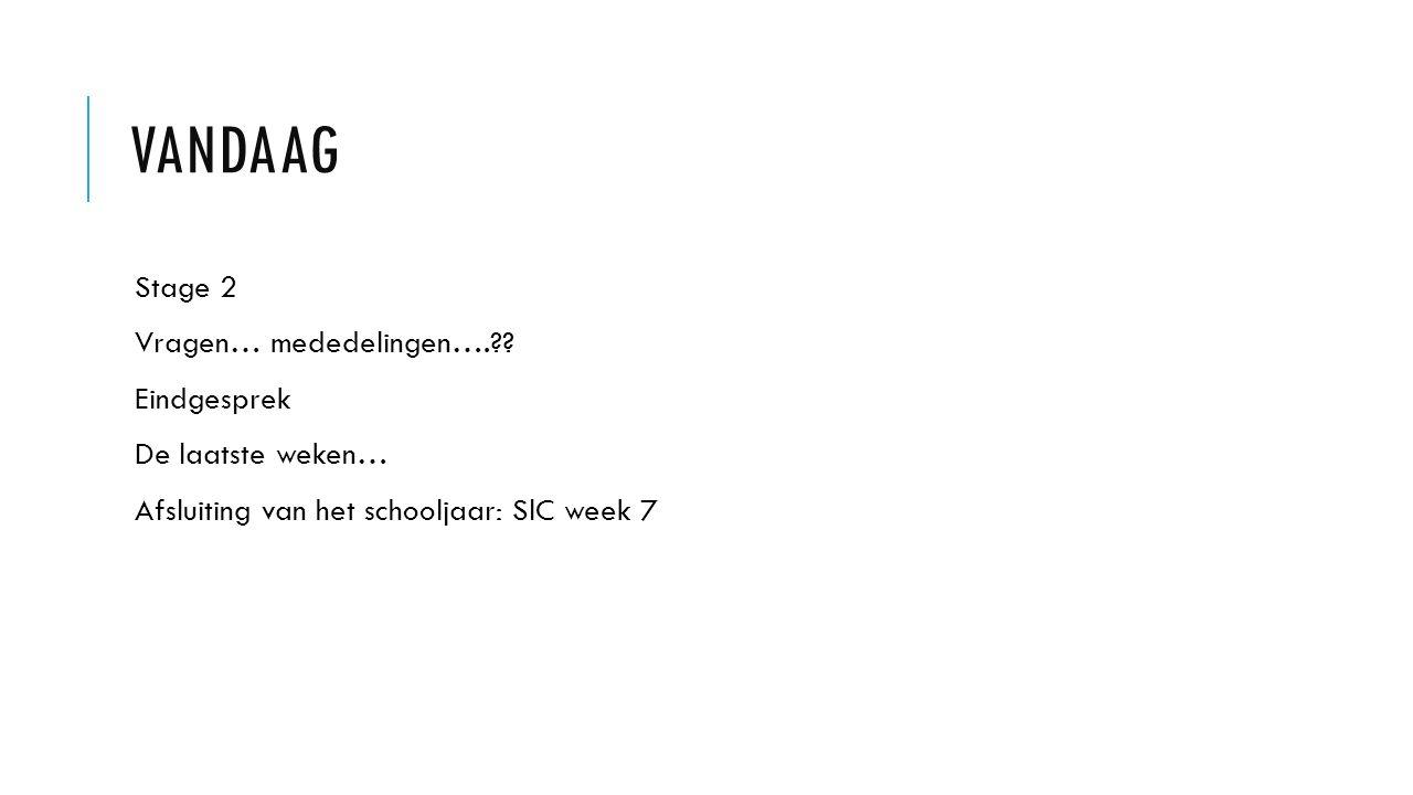 VANDAAG Stage 2 Vragen… mededelingen…. .