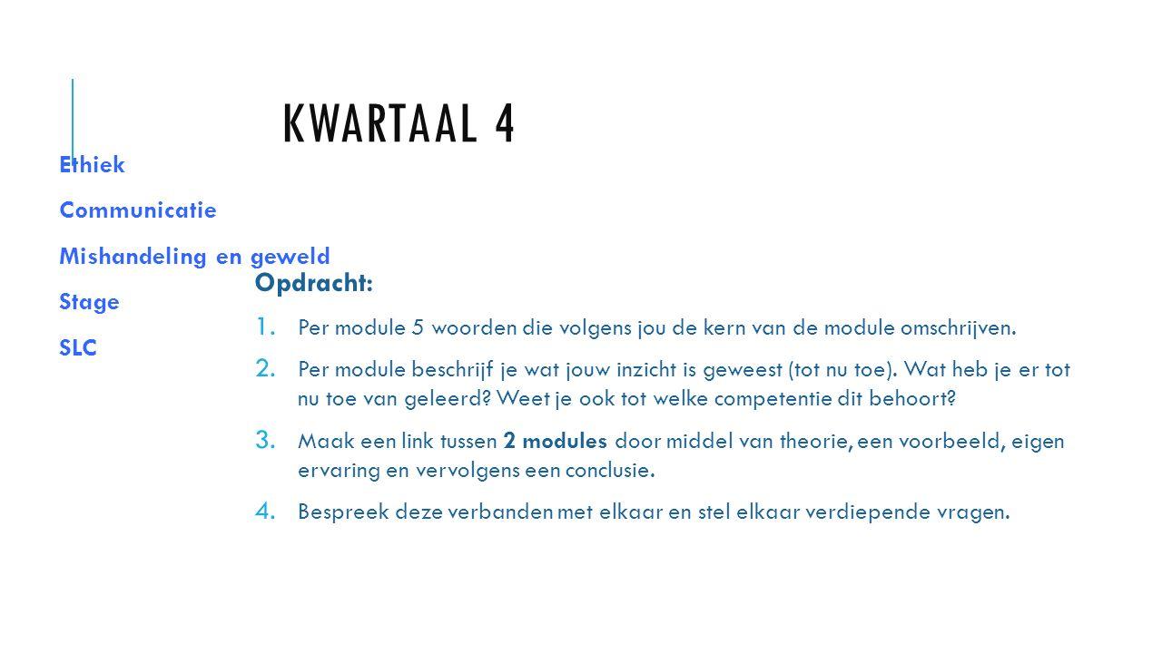 KWARTAAL 4 Ethiek Communicatie Mishandeling en geweld Stage SLC Opdracht: 1.