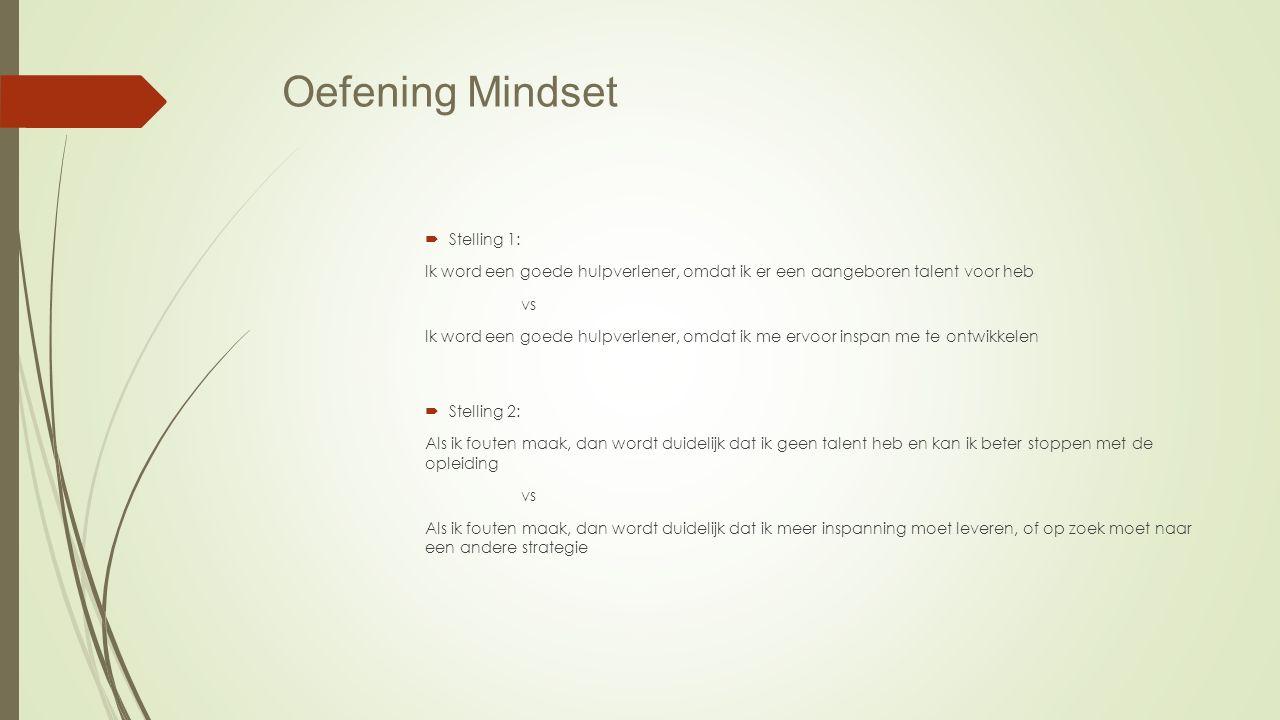 Oefening Mindset  Stelling 1: Ik word een goede hulpverlener, omdat ik er een aangeboren talent voor heb vs Ik word een goede hulpverlener, omdat ik