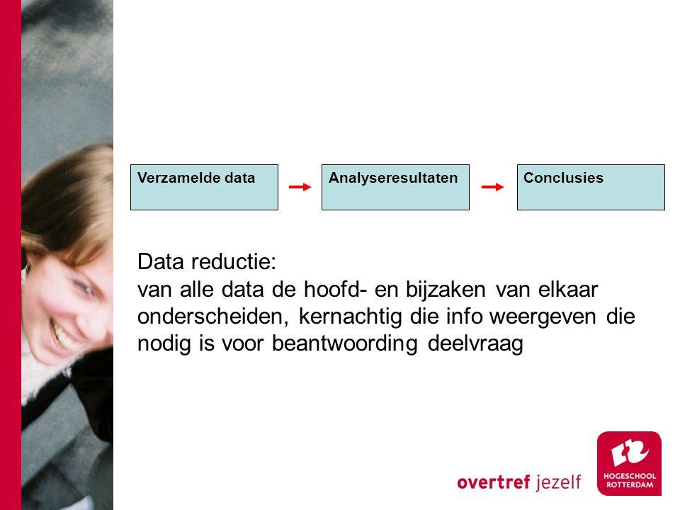 Verzamelde dataAnalyseresultaten Conclusies Data reductie: van alle data de hoofd- en bijzaken van elkaar onderscheiden, kernachtig die info weergeven