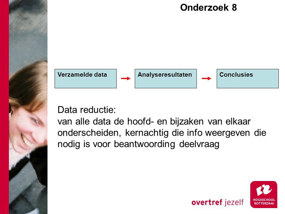 Onderzoek 8e Verzamelde dataAnalyseresultaten Conclusies Data reductie: van alle data de hoofd- en bijzaken van elkaar onderscheiden, kernachtig die info weergeven die nodig is voor beantwoording deelvraag