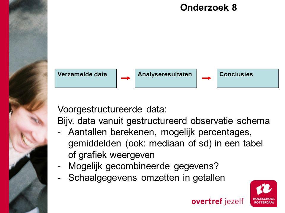 Onderzoek 8e Verzamelde dataAnalyseresultaten Conclusies Voorgestructureerde data: Bijv. data vanuit gestructureerd observatie schema -Aantallen berek