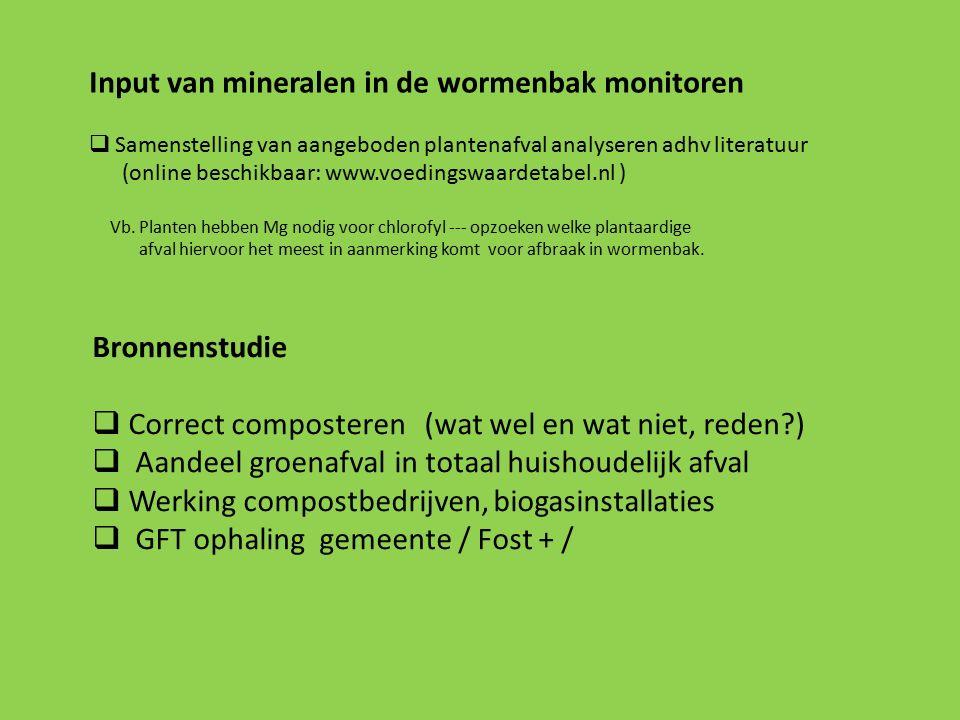 Input van mineralen in de wormenbak monitoren  Samenstelling van aangeboden plantenafval analyseren adhv literatuur (online beschikbaar: www.voedingswaardetabel.nl ) Vb.