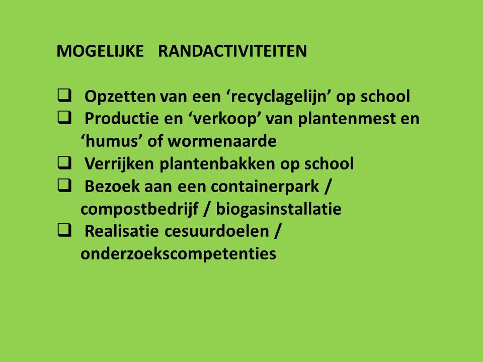 MOGELIJKE RANDACTIVITEITEN  Opzetten van een 'recyclagelijn' op school  Productie en 'verkoop' van plantenmest en 'humus' of wormenaarde  Verrijken plantenbakken op school  Bezoek aan een containerpark / compostbedrijf / biogasinstallatie  Realisatie cesuurdoelen / onderzoekscompetenties