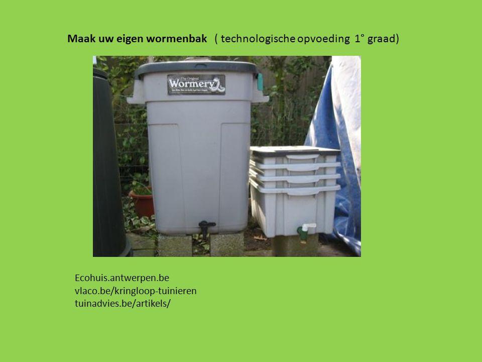 Maak uw eigen wormenbak ( technologische opvoeding 1° graad) Ecohuis.antwerpen.be vlaco.be/kringloop-tuinieren tuinadvies.be/artikels/