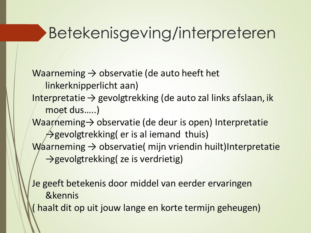 Betekenisgeving/interpreteren Waarneming → observatie (de auto heeft het linkerknipperlicht aan) Interpretatie → gevolgtrekking (de auto zal links afs