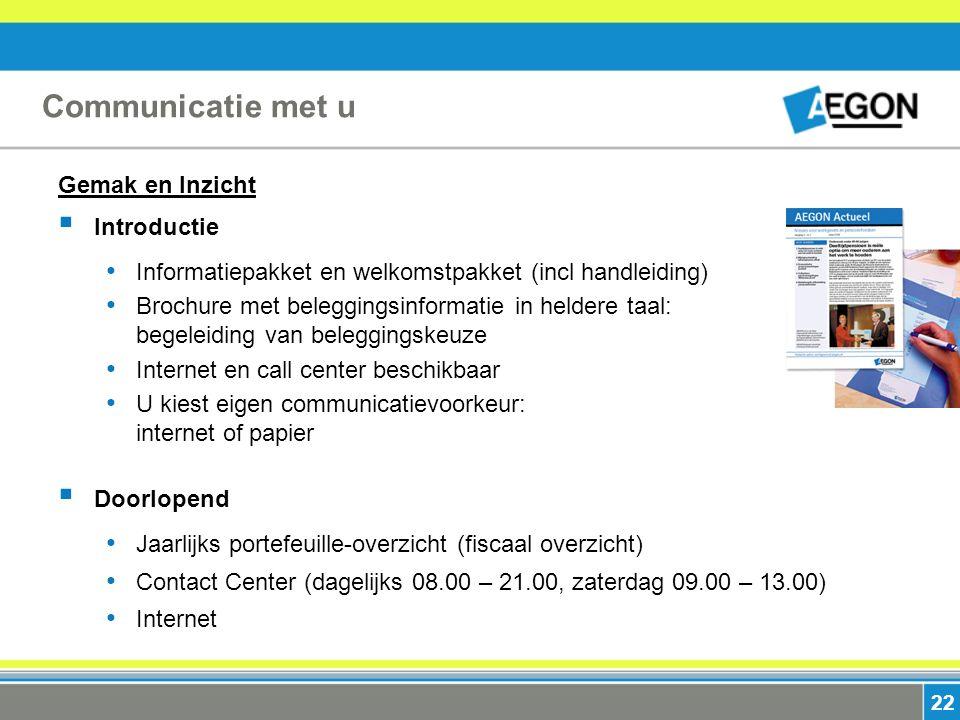 22 Communicatie met u Gemak en Inzicht  Introductie Informatiepakket en welkomstpakket (incl handleiding) Brochure met beleggingsinformatie in helder