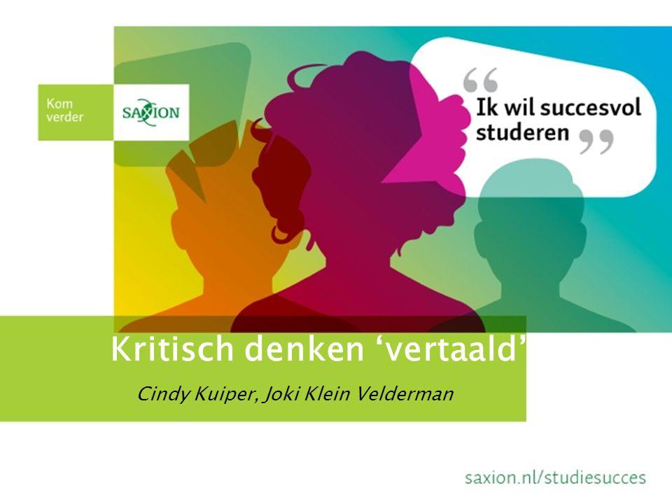 Kritisch denken 'vertaald' Cindy Kuiper, Joki Klein Velderman