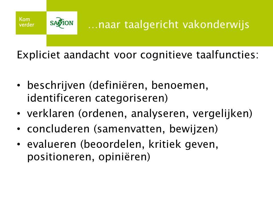 …naar taalgericht vakonderwijs Expliciet aandacht voor cognitieve taalfuncties: beschrijven (definiëren, benoemen, identificeren categoriseren) verkla