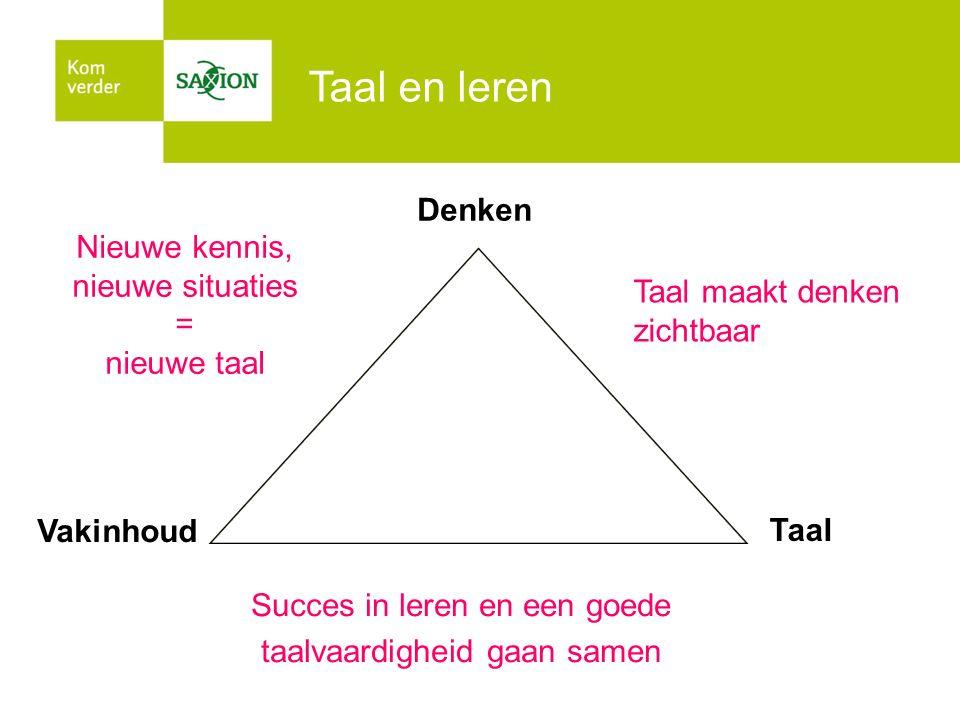 Taal en leren Succes in leren en een goede taalvaardigheid gaan samen Vakinhoud Nieuwe kennis, nieuwe situaties = nieuwe taal Taal maakt denken zichtb