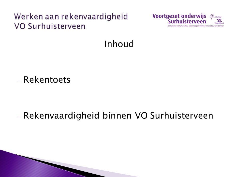 Inhoud - Rekentoets - Rekenvaardigheid binnen VO Surhuisterveen