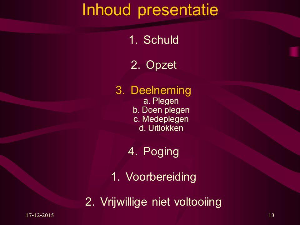 17-12-201513 Inhoud presentatie 1.Schuld 2.Opzet 3.Deelneming a.