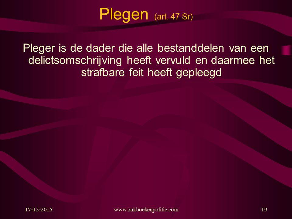 17-12-2015www.zakboekenpolitie.com19 Plegen (art.