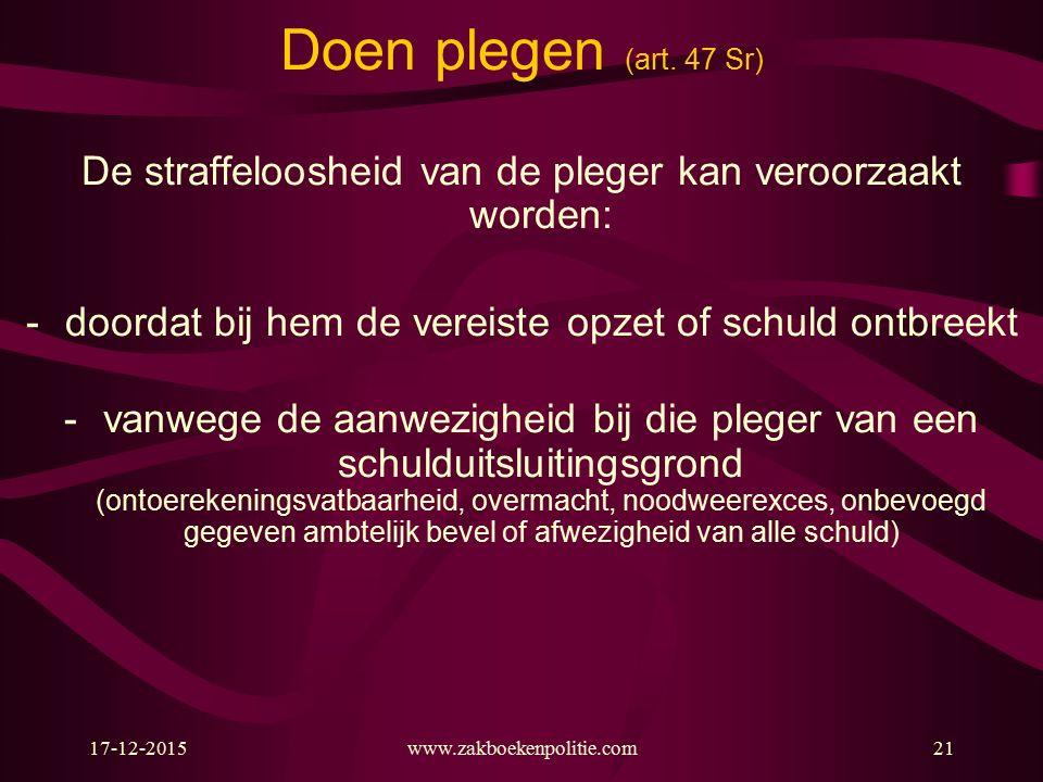 17-12-2015www.zakboekenpolitie.com21 Doen plegen (art.