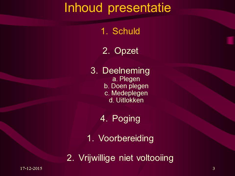 17-12-20153 Inhoud presentatie 1.Schuld 2.Opzet 3.Deelneming a.