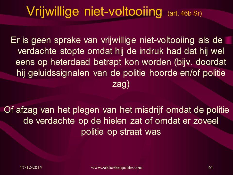 17-12-2015www.zakboekenpolitie.com61 Vrijwillige niet-voltooiing (art.