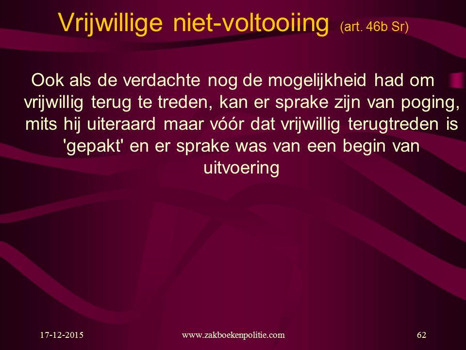 17-12-2015www.zakboekenpolitie.com62 Vrijwillige niet-voltooiing (art.