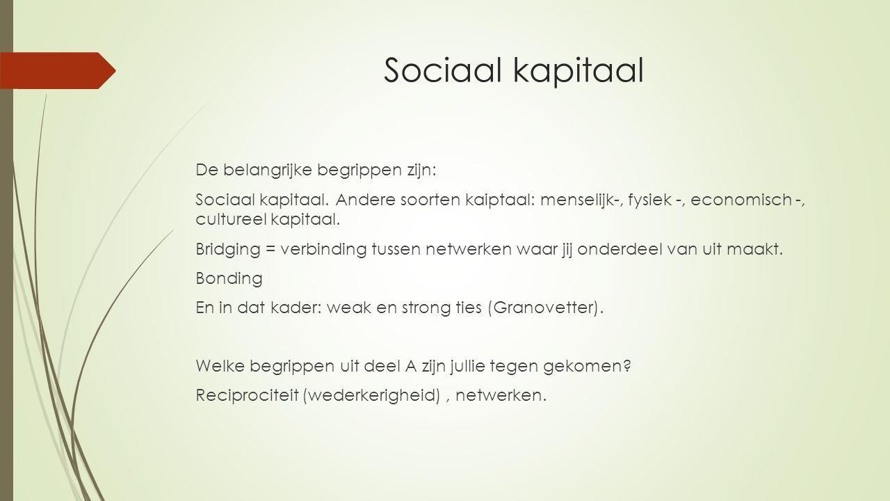 Sociaal kapitaal De belangrijke begrippen zijn: Sociaal kapitaal. Andere soorten kaiptaal: menselijk-, fysiek -, economisch -, cultureel kapitaal. Bri
