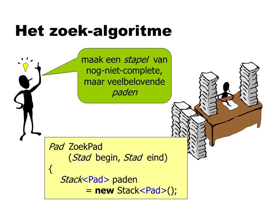 Het zoek-algoritme maak een stapel van nog-niet-complete, maar veelbelovende paden Pad ZoekPad (Stad begin, Stad eind) { Stack paden = new Stack ();