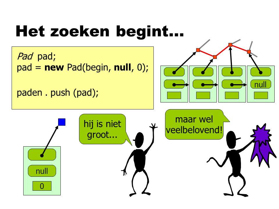 Het zoeken begint... Pad pad; pad = new Pad(begin, null, 0); null 0 hij is niet groot... maar wel veelbelovend! paden. push (pad);