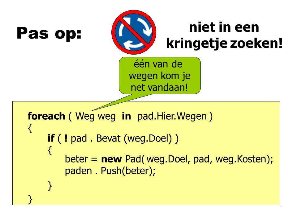 Pas op: foreach ( Weg weg in pad.Hier.Wegen ) { } beter = new Pad( paden.