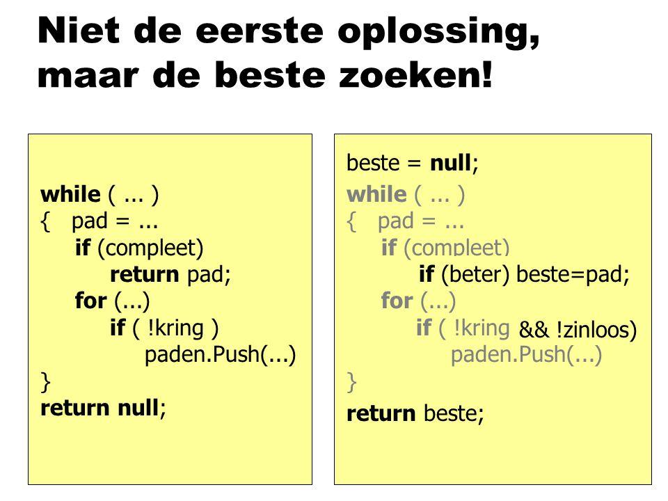 while (... ) { pad =... if (compleet) return pad; for (...) if ( !kring ) paden.Push(...) } return null; Niet de eerste oplossing, maar de beste zoeke