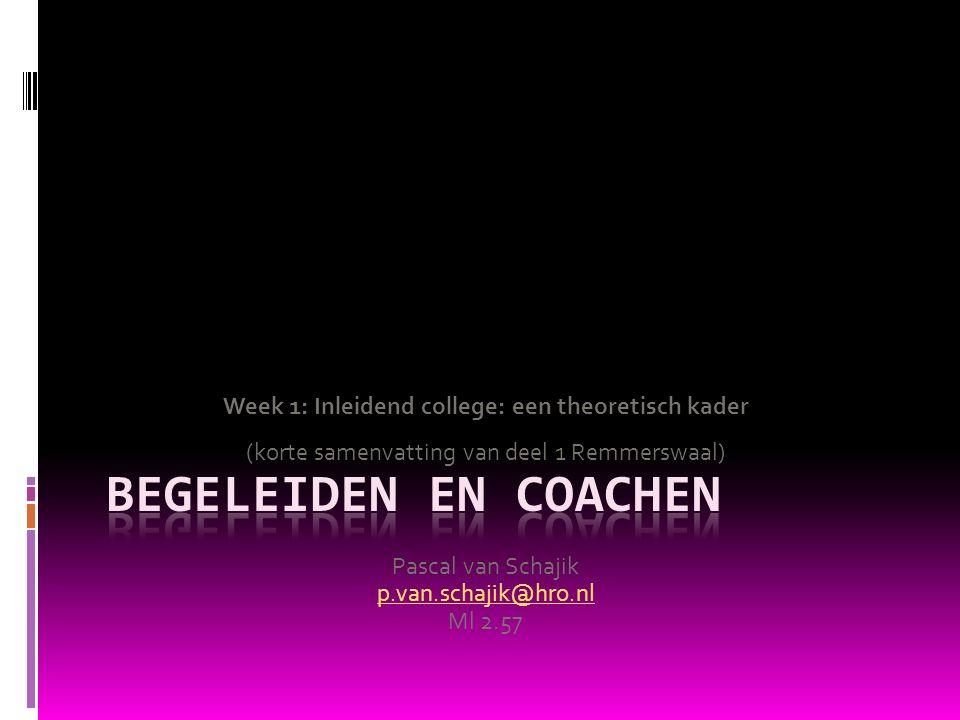 Week 1: Inleidend college: een theoretisch kader (korte samenvatting van deel 1 Remmerswaal) Pascal van Schajik p.van.schajik@hro.nl Ml 2.57