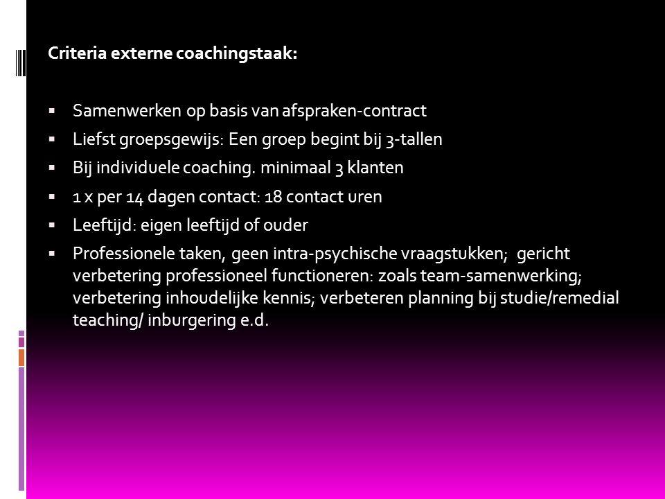 Criteria externe coachingstaak:  Samenwerken op basis van afspraken-contract  Liefst groepsgewijs: Een groep begint bij 3-tallen  Bij individuele c