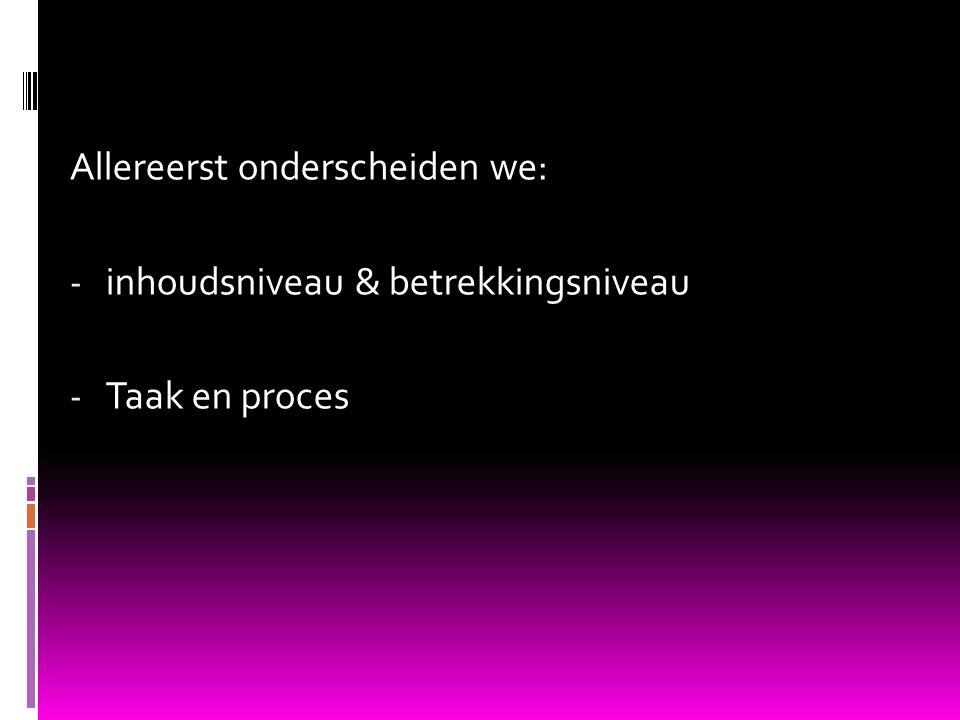 Allereerst onderscheiden we: - inhoudsniveau & betrekkingsniveau - Taak en proces