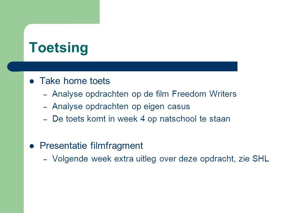 Toetsing Take home toets – Analyse opdrachten op de film Freedom Writers – Analyse opdrachten op eigen casus – De toets komt in week 4 op natschool te