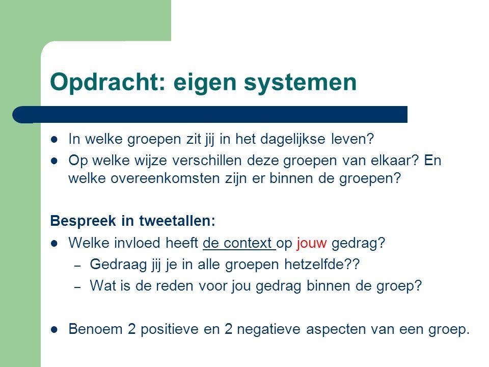 Opdracht: eigen systemen In welke groepen zit jij in het dagelijkse leven? Op welke wijze verschillen deze groepen van elkaar? En welke overeenkomsten
