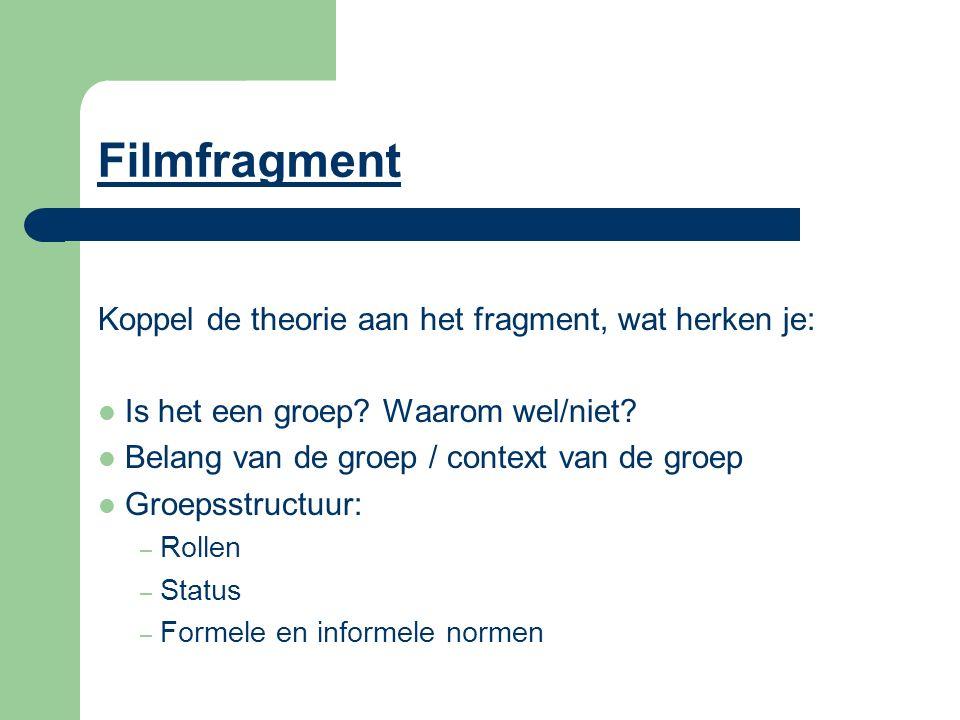Filmfragment Koppel de theorie aan het fragment, wat herken je: Is het een groep? Waarom wel/niet? Belang van de groep / context van de groep Groepsst