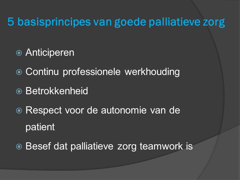 5 basisprincipes van goede palliatieve zorg  Anticiperen  Continu professionele werkhouding  Betrokkenheid  Respect voor de autonomie van de patie