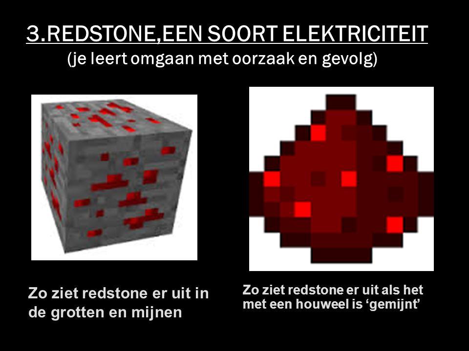 3.REDSTONE,EEN SOORT ELEKTRICITEIT (je leert omgaan met oorzaak en gevolg) Zo ziet redstone er uit in de grotten en mijnen Zo ziet redstone er uit als