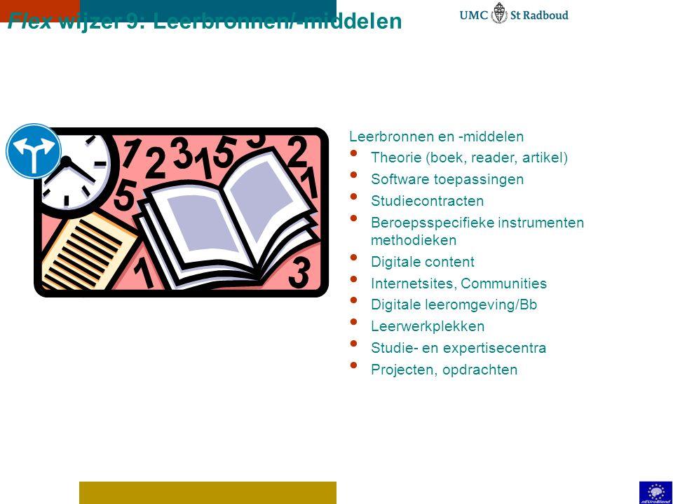 Flex wijzer 8: Groepsbegeleiding Opdracht-, probleem-, project-, productgestuurd (opleidingsconcept) Hoorcollege vs responsiecollege (inhoud en didact