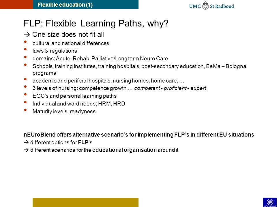 Flexible education (1) FLP: Flexible Learning Paths, why.