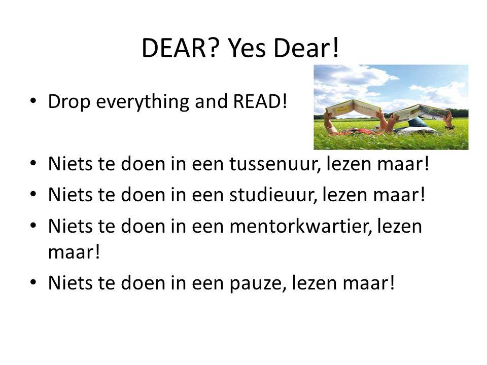 DEAR. Yes Dear. Drop everything and READ. Niets te doen in een tussenuur, lezen maar.