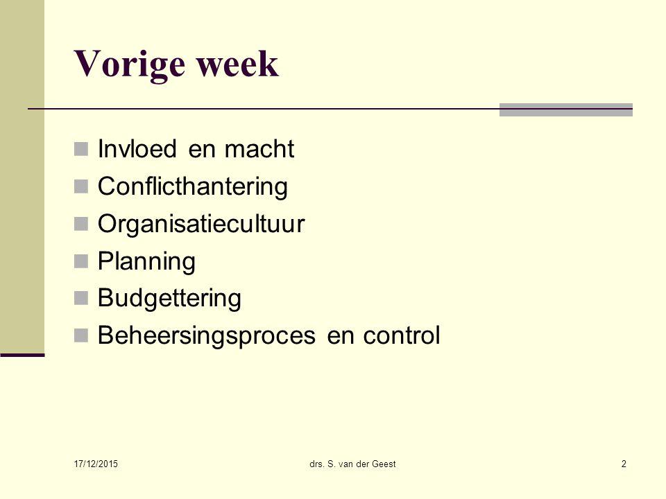 Vorige week Invloed en macht Conflicthantering Organisatiecultuur Planning Budgettering Beheersingsproces en control 17/12/2015 drs.