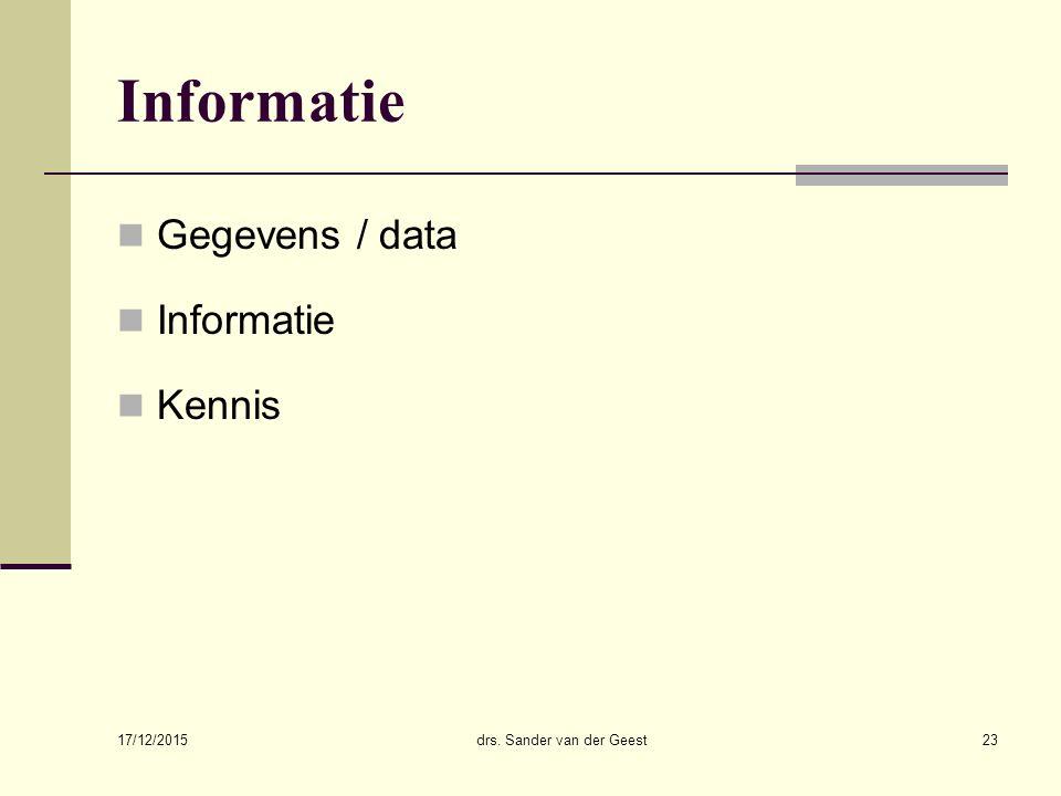 17/12/2015 drs. Sander van der Geest23 Informatie Gegevens / data Informatie Kennis