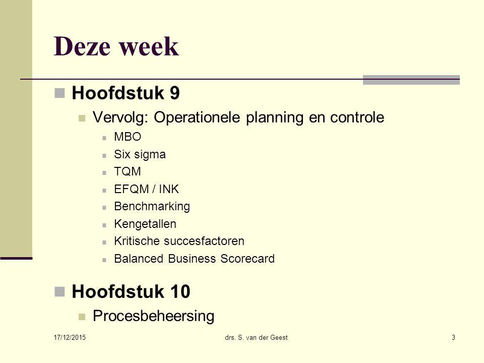 Deze week Hoofdstuk 9 Vervolg: Operationele planning en controle MBO Six sigma TQM EFQM / INK Benchmarking Kengetallen Kritische succesfactoren Balanced Business Scorecard Hoofdstuk 10 Procesbeheersing 17/12/2015 drs.