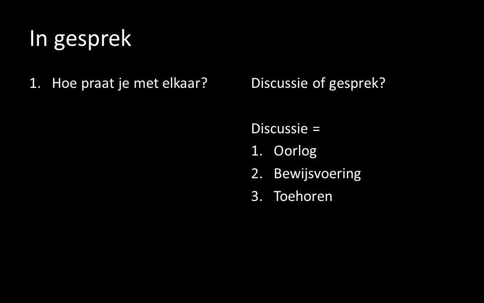 In gesprek 1.Hoe praat je met elkaar Discussie of gesprek.