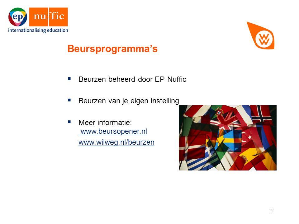 12  Beurzen beheerd door EP-Nuffic  Beurzen van je eigen instelling  Meer informatie: www.beursopener.nl www.beursopener.nl www.wilweg.nl/beurzen Beursprogramma's
