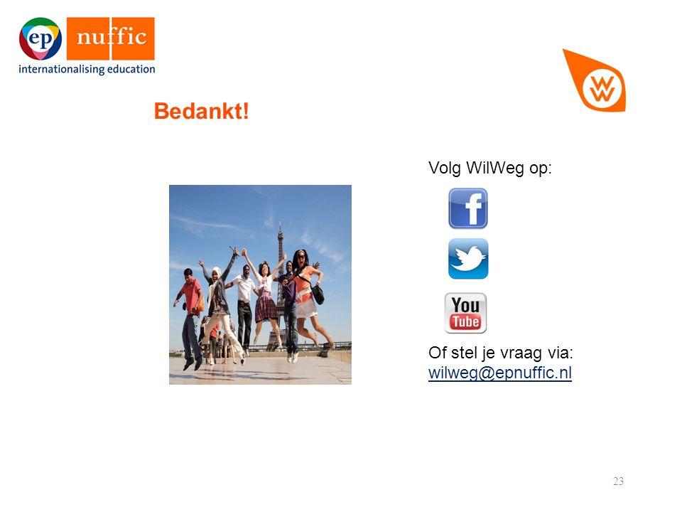 23 Bedankt! Volg WilWeg op: Of stel je vraag via: wilweg@epnuffic.nl