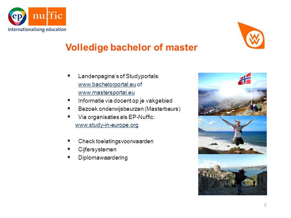 8  Landenpagina's of Studyportals: www.bachelorportal.euwww.bachelorportal.eu of www.mastersportal.eu  Informatie via docent op je vakgebied  Bezoek onderwijsbeurzen (Masterbeurs)  Via organisaties als EP-Nuffic: www.study-in-europe.org  Check toelatingsvoorwaarden  Cijfersystemen  Diplomawaardering Volledige bachelor of master