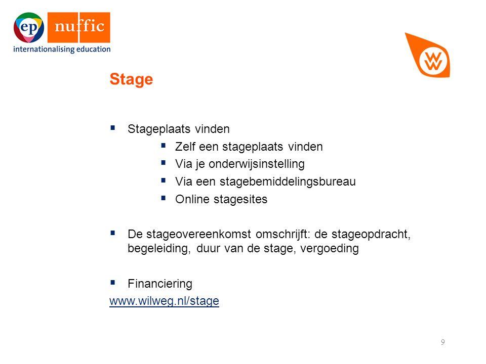 9  Stageplaats vinden  Zelf een stageplaats vinden  Via je onderwijsinstelling  Via een stagebemiddelingsbureau  Online stagesites  De stageovereenkomst omschrijft: de stageopdracht, begeleiding, duur van de stage, vergoeding  Financiering www.wilweg.nl/stage Stage