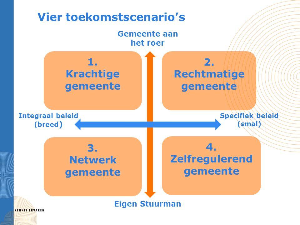 Vier toekomstscenario's Gemeente aan het roer Eigen Stuurman Integraal beleid (breed ) Specifiek beleid (smal) 1.