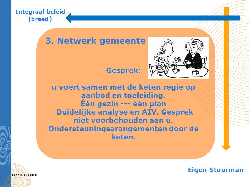 3. Netwerk gemeente Integraal beleid (breed ) Eigen Stuurman Gesprek: u voert samen met de keten regie op aanbod en toeleiding. Één gezin --- één plan