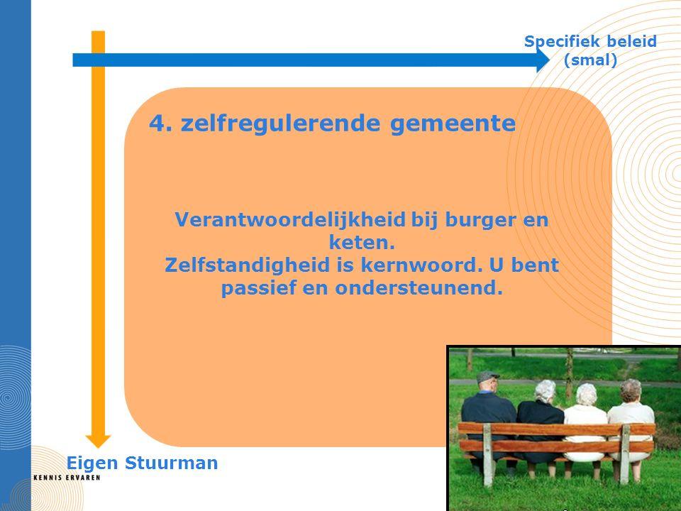 4. zelfregulerende gemeente Specifiek beleid (smal) Eigen Stuurman Verantwoordelijkheid bij burger en keten. Zelfstandigheid is kernwoord. U bent pass