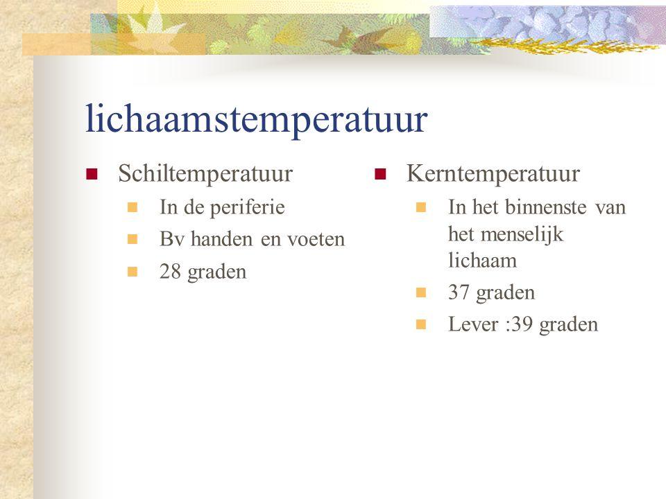 lichaamstemperatuur Schiltemperatuur In de periferie Bv handen en voeten 28 graden Kerntemperatuur In het binnenste van het menselijk lichaam 37 graden Lever :39 graden